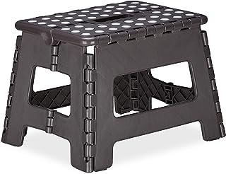 Relaxdays 折叠凳 M,可折叠,便携,旅行踏板凳,儿童浴室凳,*大120千克,塑料,22厘米高 灰色 22,00 x 31,50 x 25,00cm 10023606_709