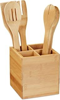 Relaxdays 10032107 餐具架,4 个隔层,竹制厨房用具架,餐具,高 x 宽 x 深 14.5 x 13.5 x 13.5 厘米,自然