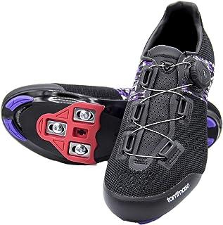 Tommaso Pista Aria Elite 针织快速系带女式室内骑行就绪自行车鞋和捆绑兼容钉,Look Delta,SPD - 黑色,紫色