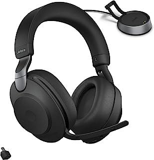 Jabra 捷波朗 Evolve2 85 MS 无线耳机,带 Link380c 和充电支架,立体声,黑色 – 无线蓝牙耳机通话和音乐,37 小时电池寿命,先进的降噪耳机