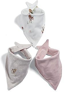 MAMAS 和 PAPAS 婴儿女童3件装鹿头巾围嘴领巾粉色均码制造商1尺码) 3支装