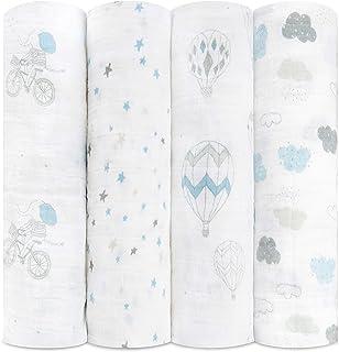 aden + anais 100%平纹细布棉多功能包巾,夜空遐想,120 x 120cm,4件