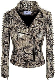 SX 女式朋克人造皮革 PU 夹克铆钉时尚街头摩托车外套