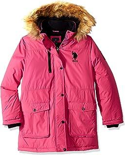 U.S. Polo Assn. 女童派克大衣夹克,带人造皮草帽,