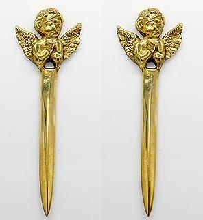 Crystal Collection 1 套 2 件天使手工复古系列黄铜开封器、信封、开信机