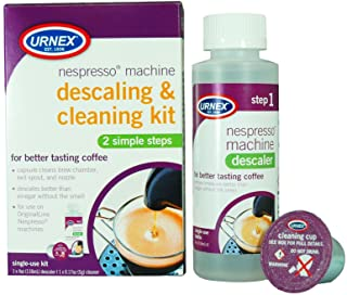 Urnex Nespresso 咖啡机除垢剂和清洁剂 - 2 步除垢和清洁套件