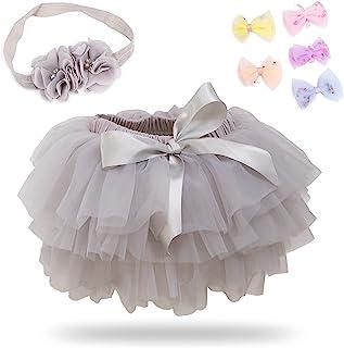女童蓬蓬蓬裙带尿布套,女婴柔软蓬松蓬蓬裙套装,带 5 张发夹和 1 个头带