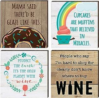 Farmhouse 冰箱磁贴 | 4 个乡村设计农场主题趣味磁贴套装 | 适用于冰箱、洗碗机、磁性厨房白板 | 甜甜圈、葡萄酒、纸杯蛋糕格言