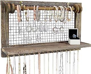 Greenco 乡村风格木制壁挂珠宝收纳盒,带可拆卸挂杆和存放架,适用于耳环、手镯、项链和配饰
