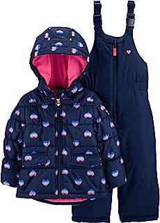 OshKosh B'Gosh 女婴 2 件套彩虹心形连帽抓绒内衬*蓝,尺码 12 个月