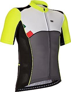 GSG Lavaredo - 男士骑行图案 T 恤带拉链 - 速干运动衫 - 黄色