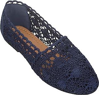 CLOVERLAY 女式蕾丝平底鞋花卉透气钩针编织蕾丝芭蕾平底鞋