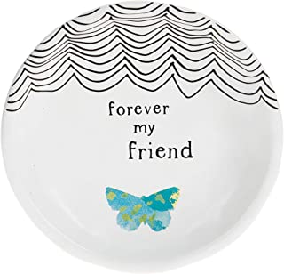 Pavilion Gift Company Forever My Friend 4 英寸蝴蝶纪念珠宝饰品餐具,白色