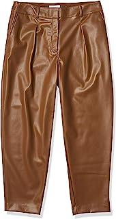 Calvin Klein 女士褶皱 FRNT Pu 长裤 深棕色 TOBACCO