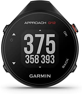 Garmin 佳明 Approach G12 - GPS 高尔夫设备,带距离指示,*和障碍。1.3 英寸显示屏,大按钮,测量和录制,全球 42,000 个高尔夫球场。