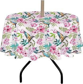 ColorBird 春季和夏季户外桌布防水防溢涤纶织物桌布带拉链伞孔适用于庭院花园桌面装饰(152.4 厘米圆形,拉链,玫瑰/鸟)