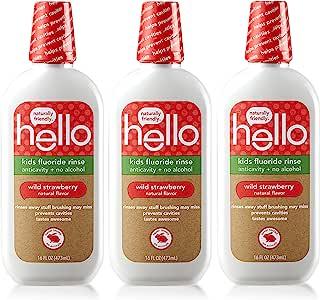 Hello Oral Care 氟化物牙膏,适合 2 岁以上儿童 Natural Wild Strawberry 3份