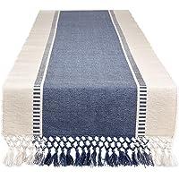 DII Dobby 条纹编织桌巾,33.02 厘米 x 182.88 厘米,法国蓝