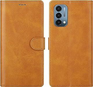 Cresee 适用于 OnePlus Nord N200 5G 手机壳,PU 皮革钱包翻盖保护套 [3 个卡槽 1 个钱袋] [磁扣] [支架] 对开式手机壳,适用于 OnePlus Nord N200 - 棕褐色
