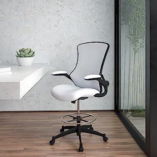 Flash Furniture 中背白色网眼人体工学起草椅,带可调节脚环和上掀扶手