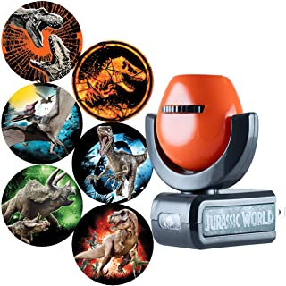 Jurassic World 侏罗纪世界 42034 可投影 LED 夜灯,黄昏到黎明插件,恐龙,霸王龙,Velociraptor,收藏版,UL 认证,适用于卧室,浴室,托儿所,1 件装
