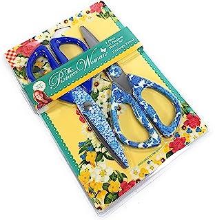 The Pioneer Woman 2 件传统花卉全能不锈钢剪刀,蓝色