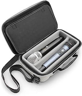 CASEMATIX 灰色双无线发射器麦克风外壳兼容无线麦克风系统手持麦克风扬声器、舒尔等,两个插槽麦克风袋带肩带和硬壳