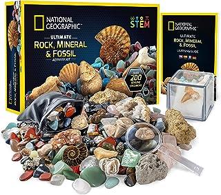 National Geographic 国家地理 岩石和化石工具包– 200件套,包括大地测量仪,真实化石,玫瑰石英,碧玉,金星石和更多其他岩石,水晶和宝石