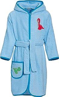 Playshoes 儿童毛巾布浴衣,恐龙,带兜帽,蓬松保暖,适合男孩和女孩。