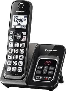 Panasonic 可伸缩无绳电话带电话屏和应答机 1 个听筒 7.10in. x 5.40in. x 4.80in. 金属黑