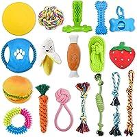 狗狗小狗玩具 16 件装,7 个 Toozey 小狗玩具,5 个狗绳玩具,4 个狗牙刷小狗咀嚼玩具,用于咀嚼和清洁牙齿或…