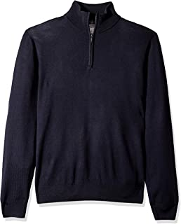Goodthreads Men's Merino Wool Quarter Zip Sweater, Navy, Medium