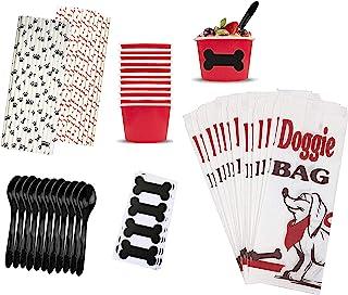 狗狗生日派对用品 - 小狗袋零食袋 - 黑板狗骨标签 - 红色*杯 - 黑色塑料勺 - 狗骨头和小狗爪吸管 - 12 个套装