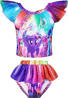Little Girls 2 件套泳装婴儿公主可爱马图案儿童泳衣