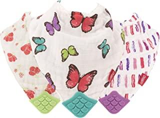 Nuby 双面*** Natural 棉质平纹细布3件套花 / 蝴蝶 / 条纹出牙围兜粉色 / 浅绿色 / 紫色