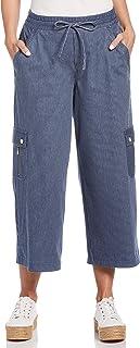 Rafaella 女式条纹超弹力斜纹露脐工装裤