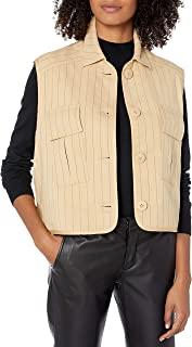 A|X Armani Exchange 女式无袖纽扣衬衫,带旅行口袋