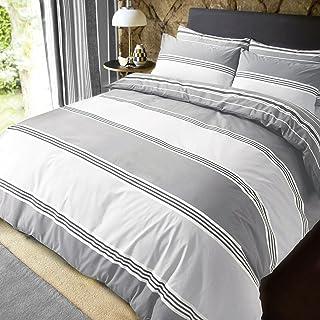 PIERIDAE 条纹灰色双面被套 + 枕套(特大号)