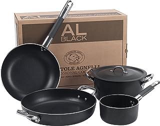 Pentole Agnelli ALSASETALBLACK4 全黑炊具套装 适合 4 人 3 毫米 5 件