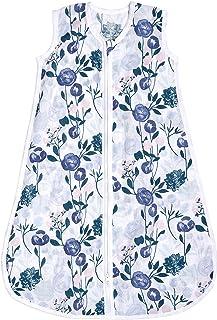 aden + anais Essentials 婴儿睡袋,* 纯棉平纹细布,可穿戴式襁褓毯,适合女孩和男孩,新生儿睡袋,TOG 等级1.0,花朵绽放,大号,12-18个月