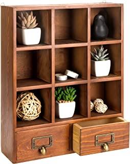 16.5 英寸复古独立式木制展示架,带 2 个抽屉存储 9 个隔层阴影盒