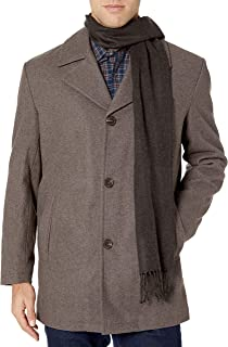 London Fog 男士 Amity 34 英寸羊毛混纺机车外套带围巾