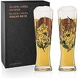 RITZENHOFF 黑色标签小麦啤酒杯套装由 Tobias Tietchen (Stag & Fox),水晶玻璃制成…