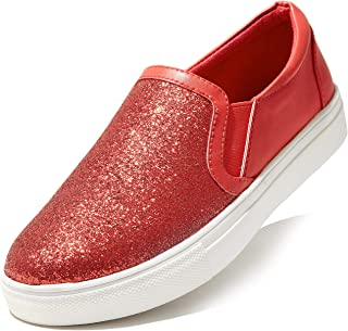 DailyShoes 女式经典平底*泡沫衬垫弹性松紧带软帆布日常一脚蹬休闲运动鞋平底鞋