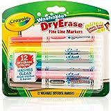 Crayola 绘儿乐 干擦除细线马克笔 98-5912,可水洗,12种经典颜色的美术工具(适用于3岁及以上儿童和幼儿…