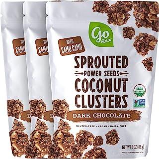 Go Raw 黑巧克力发芽种子椰子群,3 盎司袋(3 包)— 有机 | 无谷物 | 无坚果 | 素食主义者 | 超级食品