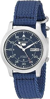Seiko 中国精工 SNK807 Seiko 5 男士自动不锈钢手表,蓝色帆布带,blue