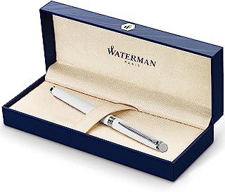 Waterman Hémisphère 钢笔,亮铬配铬边,高级笔尖,配蓝色墨盒,礼品盒