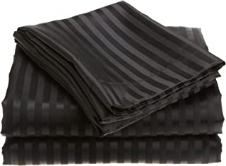 Divatex Home Fashions Royal Opulence 编织缎条纹中号双人床床单套装,黑色