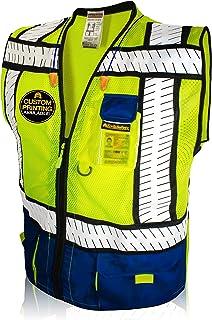 KwikSafety 专业防寒   2 类*背心   360° Hi Viz 反光 ANSI 标准工作服   Hi Vis 透气网眼 5 口袋   男式女式常规至超大尺寸   蓝色和黑色 中 蓝色